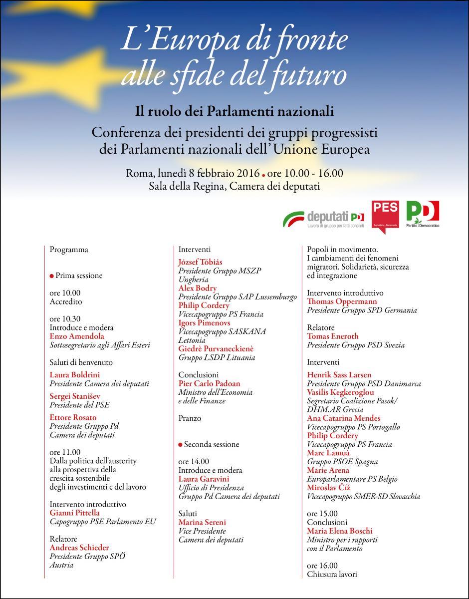 L 39 europa di fronte alle sfide del futuro gruppo pd for Calendario camera deputati